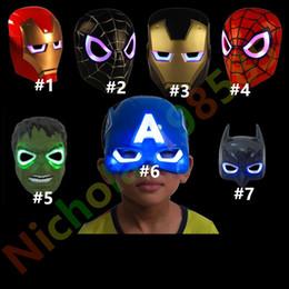 Canada LED Glowing Light Masque Eye Light Flash Hero Captain America Hulk Iron Man Masque Pour Enfants Adultes Party Halloween Anniversaire Masques Pour Le Visage Offre