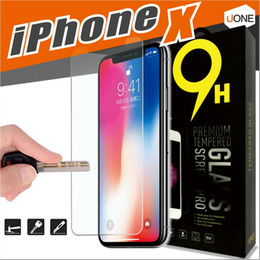Wholesale Iphone Screen Anti - For iPhone X 8 7 6 6S Tempered Glass Screen Protector for iPhone 6S Plus Samsung S6 S7 Note 5 screen clear film protection with 9H Hardness