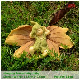Wholesale Leaf Ornaments - Everyday Collection Leaf Fairy Angel Figurine Baby Outdoor Statue  Miniature Fairy Garden Ornament Christmas Decoration For Home