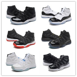 Wholesale Space Box - 2017 Cheap Retro 11 Bred Basketball Shoes Men Women Space Jam 11s Sport Shoes Concords XI Moon Landing Athletics Sneakers With Box