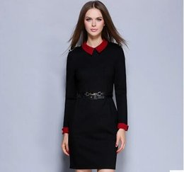 Wholesale Doll Collar Dress Black - 2016 new fashion women's wear, doll collar, long sleeves, package hip, dress, ladies and fall one step skirt.