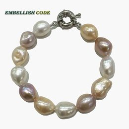 Wholesale Baroque Pearls Bracelets - Rainbow Lustrous semi baroque irregular pearl bracelet Mixed color white pink purple stely real freshwater pearls for summer fine Jewelry