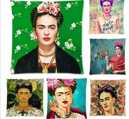 Wholesale Flower Throw Pillow - Cushion Cover Frida Kahlo Pillow Case Firm Flower self-portrait Sofa Butterfly Bedroom Home Decorative Throw Pillow Cover
