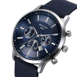 Wholesale Caliber Watches - New Carrea Caliber 1987 SpaceX Chrono Flyback Stopwatch Blue Dial Blue Leather Belt Men Watch Sport Gent Watch VK Chronograph Free Shipping