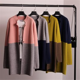 Wholesale Korean Cardigans Women - Wholesale- New 2016 Spring Autumn Fashion Female Korean Women Jacket Sweater Coat Color In Female Long Sweater Cardigan B014
