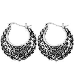 Wholesale Flower Shaped Hoop Earrings - Wholesale- Vintage Earring Tibetan Silver Carved Flowers Shape Basketball Wives Round Fancy Hoop Earrings Brand Jewelry Pending Mujeres