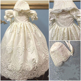 Wholesale Formal Dressing For Baby Boys - Wholesale- 2016 Satin Puff Sleeves lace blessing dress for baby girl and boys christening gown robe baptism With Bonnet
