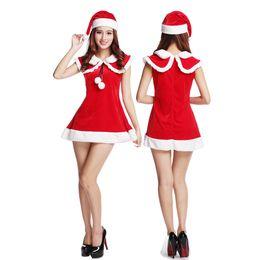 Wholesale Sexy Bar Uniforms - Christmas Dress Miniskirts are full of elasticity Festive dress sexy Tease Temptation Mini Skirt Navy collar Pompon party Bar club Costume