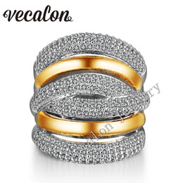Wholesale Yellow Topaz Rings Women - Vecalon 234pcs Topaz Simulated diamond Cz Cross Engagement Wedding ring for Women 14KT White Yellow Gold Filled Female Band ring