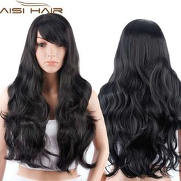 """Wholesale Long Realistic Wigs - Wholesale-28""""Long Black Curly Wigs Synthetic Hair Wig for Women Cheap African American Fake Hair Full Wigs Realistic Kanekalon Cute"""