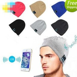 Wholesale Yellow Speaker - Bluetooth Hat Music Beanie Cap Bluetooth V4.1 Stereo wireless earphone Speaker Microphone Handsfree For IPhone 7 Samsung Galaxy S7 Music Hat