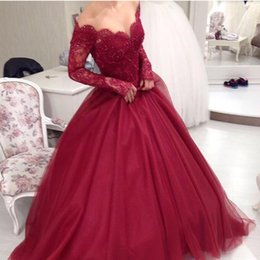 Wholesale Evening Prom Princess Dress - Long Sleeves Burgundy Ball Gowns Evening Dresses Appliques Lace Off Shoulder Princess Prom Gowns Custom Made Women Formal Wear 2016 Cheap