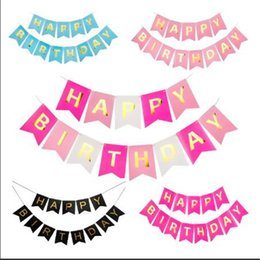 Wholesale Pennants Banner - Birthday Decor Boy Girl Happy Birthday Banner Pennant Garland Hanging Gold Letters Tag Photo Props Baby Shower Kids Favors Party Supplies