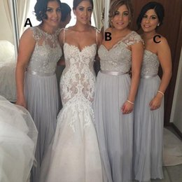 Wholesale Long Different Style Bridesmaid Dresses - Silver Chiffon Long Bridesmaid Dresses Cheap A-Line Beaded Lace Applique Formal Gowns Different Styles Maid of Honor Dresses