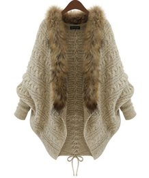 Wholesale Knitted Fur Ponchos - High Quality Winter New Cardigan Poncho Fur Collar Outerwear Women Sweater Knitted Brand Casual Knitwear Coat