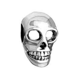 Wholesale Skull Bead Bracelet Diy - Happy 2016 Halloween Day Skull bead in Rhodium Plating European Charm Fits Pandora European DIY Bracelet
