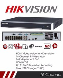 Wholesale Udp Dns - Original HIKVISION 16 CHANNEL VIDEO RECORDER IP NVR 16 POE 6MP 1080P ONVIF VCA P2P NVR DS-7616NI-I2 16P H.265 16 POE Port 2 SATA