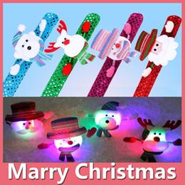 Wholesale Led Xmas Bracelets - 2016 Christmas Gift LED Watch Xmas Santa Claus Snowman Toy Slap Pat Circle Bracelet Wristhand Christmas Decoration Ornament Free Shipping