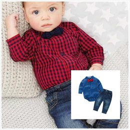 Wholesale Bebe Brand - 2016 Autumn Baby Boy Clothes New Red Plaid Rompers Shirts Jeans Baby Boys Clothes Bebe Clothing Set