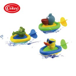 Wholesale Baby Pull Up Toys - Wholesale- Pull And Go Boat Bath Toy Baby Back Guy Water Clockwork Baby Toy Swim Water Boat Toys For Children Wound-up plastic boats toys
