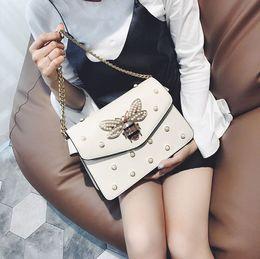 Wholesale Bead Square - Women Color splicing Little Bags fashion chain bag ribbon small square bag pearl rivet shoulder Messenger bag handbag New Femme