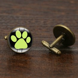Wholesale Footed Glass Plate - Bigfoot Cufflinks Glass Cabochon Footed Cuff Links for Men Jewelry making Accessories Cartoon Gifts Copper Wholesale