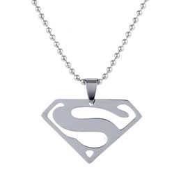 Wholesale Superman Man Steel - Free Shipping 10Pc Lot Fashion Jewelry Superhero Series Pendants Men Women Necklace Superman Top Grade Stainless Steel letter rope Necklaces