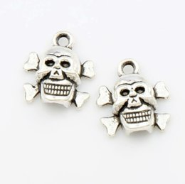 Wholesale Silver Skull Charms - Halloween Skull Charm Beads 200pcs lot 14.5x12.9mm Antique Silver Pendants Fit European Charm Bracelets Jewelry DIY L975