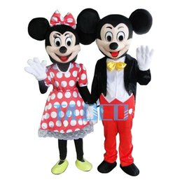 Wholesale Mouse Character Costumes - In-stock 2Pcs Couple Mickey & Minne Mouse Cartoon Mascot Costume School Mascots Character Men's costumes For Fuys Fast Ship