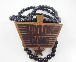 Wholesale Good Wood Gang - Taylor Gang Pendant Good Wood Hip-Hop Wooden Fashion Dancer Necklace Black Natural Color