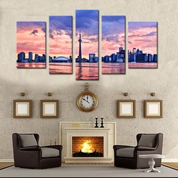abstrakte gemälde wellen Rabatt 5 Stück Wandkunst Malerei Toronto Drucke Auf Leinwand Die Bild Stadt Öl Für Haus Moderne Dekoration Print Decor Für Möbel