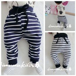 Wholesale Tight Pajamas Girl - INS Baby Striped Trousers Pants Kids Cotton Tight Leggings Boys Girls Toddler Pajamas Pants Children Autumn Winter Clothing Free Shipping