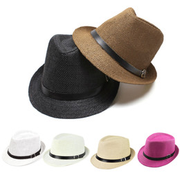 Wholesale Cheap Pink Straws - Wholesale-2016 New Fashion Summer Women Ladies Wide Brim Beach Sun Hat Straw Floppy Jazz Caps Panama Bohemia Cap For Women Dating Cheap W2