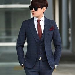 Wholesale Tartan Suit Men - Wholesale-The new factory direct suit tartans Korean men's suits and leisure business wedding three piece