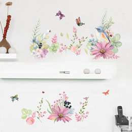 Wholesale Wholesale Vinyl Skirts - Birds on the Colorful Flowers Butterfly Wall Border Decal Stickers DIY Home Decoration Skirting Line Wall Graphic Creative Removable PVC Art