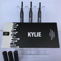 Wholesale Wholesale Brow Pencils - 3 Colors Kylie Eyebrow Pencil Women Lady Triangle Waterproof Eyebrow Pencil Eye Brow Pen With Brush Make-Up Tools Kylie Jenner