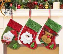Wholesale Thick Baby Stocking - 12pcs lot New Baby Gifts Christmas Decoration gift bags socks Old snowman deer socks 9*12*16cm have 12 style