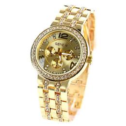 Мода сплава Женева часы с бриллиантом Женева Bling Кристалл женщины девушка часы унисекс из нержавеющей стали Кварцевые наручные часы от