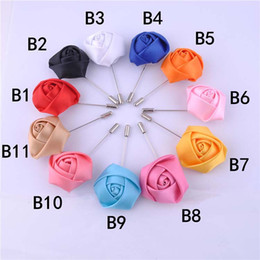 Wholesale Lapel Flower Sale - Hot Sale Ribbon Lapel Flower Rose Handmade Boutonniere Brooch Pin Men's Accessories Brooches Pins Jewelry Wholesale Free Shipping 0401WH