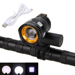 Wholesale Bicycle Built - 2000LM Zoomable CREE XM-L T6 LED Bicycle Light Bike Front Lamp Torch Headlight with USB Rechargeable Built-in Battery