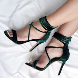 Wholesale European American High Heels - 2017 New European and American Foreign Trade Ultra High with Single Shoes Roman Sandals Zipper Strap Hollow Sexy Shoes