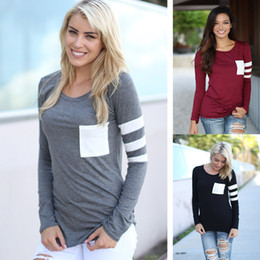 Wholesale Striped Pocket Shirt - Autumn Women Girls Casual Long Sleeved Cotton T-shirt with Pocket Striped Stitching Sleeve Shirt S TO XXL
