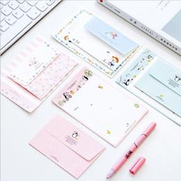 Wholesale Kawaii Letter Sets - Wholesale- 4sets lot One set=4 sheets letter paper+2 pcs envelope Kawaii cartoon envelope letter paper Set Office school Supplies GT449