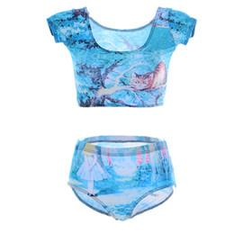 Wholesale Women Cat Suits - Lovely Beach Swimwear Animal Cat Woman Bathing Suit Fashion Summer Wear Alice in Wonderland Two-Piece Swim Sets Breathable Blue LNHst