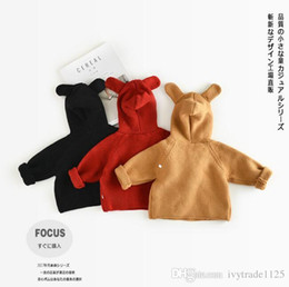 Wholesale Bear Girls Hooded - In stock 3 color INS styles new arrival children long sleeve 100% Cotton little bear pullover kids girl casual cute hooded neck sweater coat