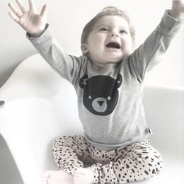 Wholesale Cute Bear Long Shirt - 2016 New Newborn Outfits Sets ins Baby Boys Bear Printed Shirts + Long Pants 2016 Autumn Kids Girls Cartoon Cotton Clothing