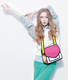Wholesale Comic Paper - Fashion 2D Bags Novelty comic jump From Paper Cartoon Bags 3D Drawing Cartoon Comic Handbag Lady Shoulder Bags newest.