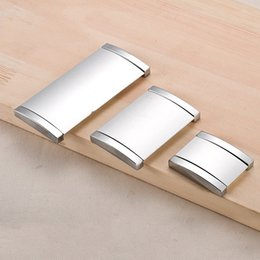 Wholesale Aluminum Cabinet Handles - 1pcs Cabinet Furniture Hidden Recessed Flush Pull Aluminum Oxide Concealed Handle Sand Silver Window Handle Sliding Door Knob
