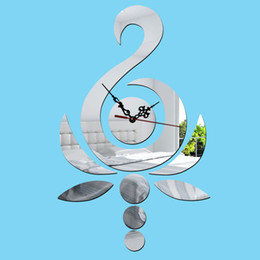 Wholesale Watches Mirrors Wall - Wholesale-New 2015 3D best wall clock Home decoration DIY crystal mirror swan wall clocks children's wall art watch decor Free shipping