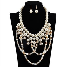 white pearl turquoise necklace UK - 2pcs set Jewelry Sets necklace earrings Multi-Layered White Imitation Pearl Necklace Long Earrings Women Collar free shipping brand